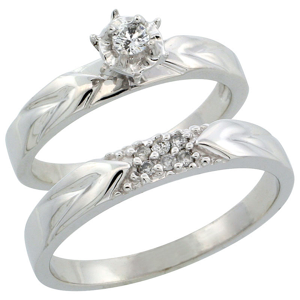 10k White Gold 2-Piece Diamond Ring Band Set w/ Rhodium Accent ( Engagement Ring & Man's Wedding Band ), w/ 0.13 Carat Brilliant Cut Diamonds, ( 3.5mm; 3.5mm ) wide