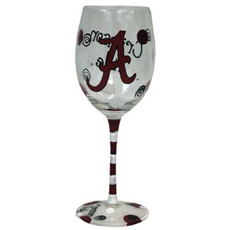 University of Alabama Hand-Painted Wine -
