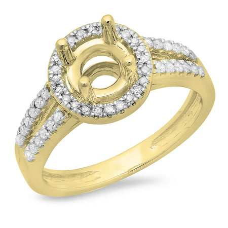 Dazzlingrock Collection 0.33 Carat (ctw) 14K Round Diamond Split Shank Semi Mount Ring 1/3 CT (No Center), Yellow Gold, Size 4