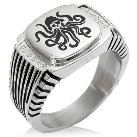 Stainless Steel Kraken Octopus Pirate Skull CZ Ribbed Needle Stripe Pattern Biker Style Polished Ring - Octopus Ring