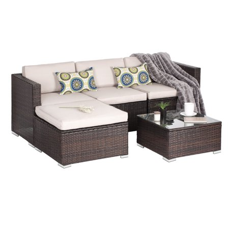 Oakville Luxury Modern 5 Piece Outdoor Patio Garden Furniture Wicker ...