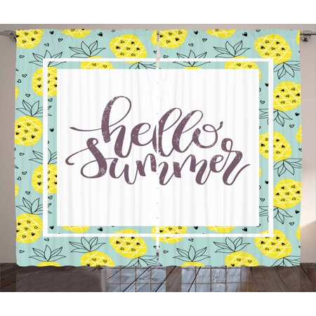 Hello Summer Curtains 2 Panels Set, Hand Lettering Phrase Print in Frame with Radiant Yellow Whole Pineapples, Window Drapes for Living Room Bedroom, 108W X 108L Inches, Multicolor, by Ambesonne