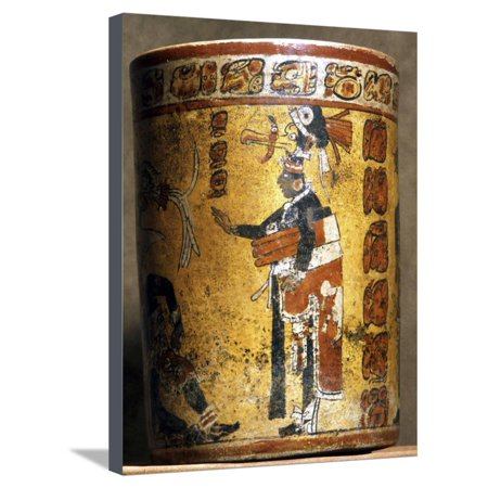 Mayan cylindrical polychromed ceramic vessel, Mexico, late Classic period, c500-900 Stretched Canvas Print Wall Art By Werner Forman