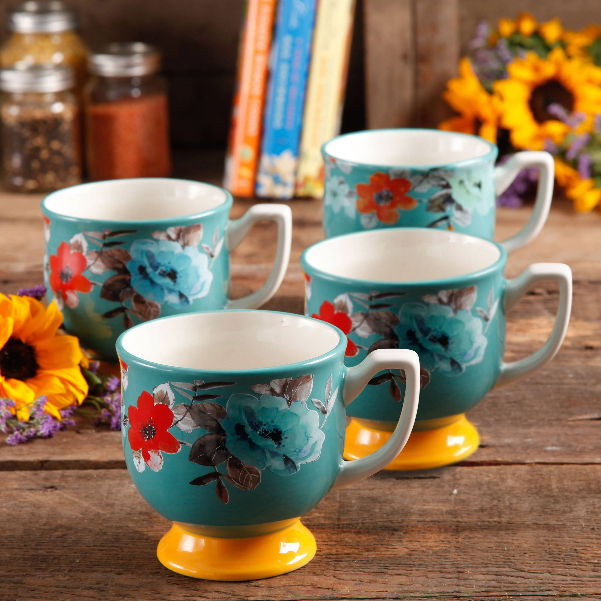 The Pioneer Woman Flea Market 15 oz Footed Decorated Mugs, Turquoise & Yellow, Set of 4