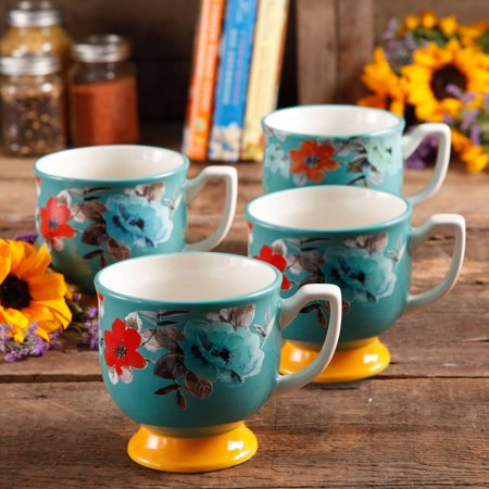 The Pioneer Woman Flea Market 15 Oz Footed Decorated Mugs