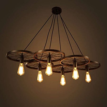 The Nathaniel 6-light Black 41-inch LD-4089-6 Edison Chandelier with ...