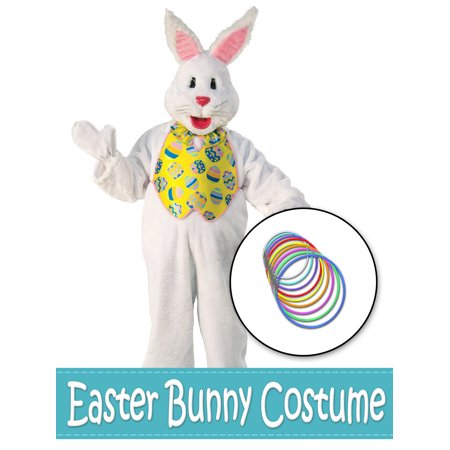 Bunny Vest (Easter Bunny Mascot with Yellow Vest and Glow Necklaces Costume Kit -)