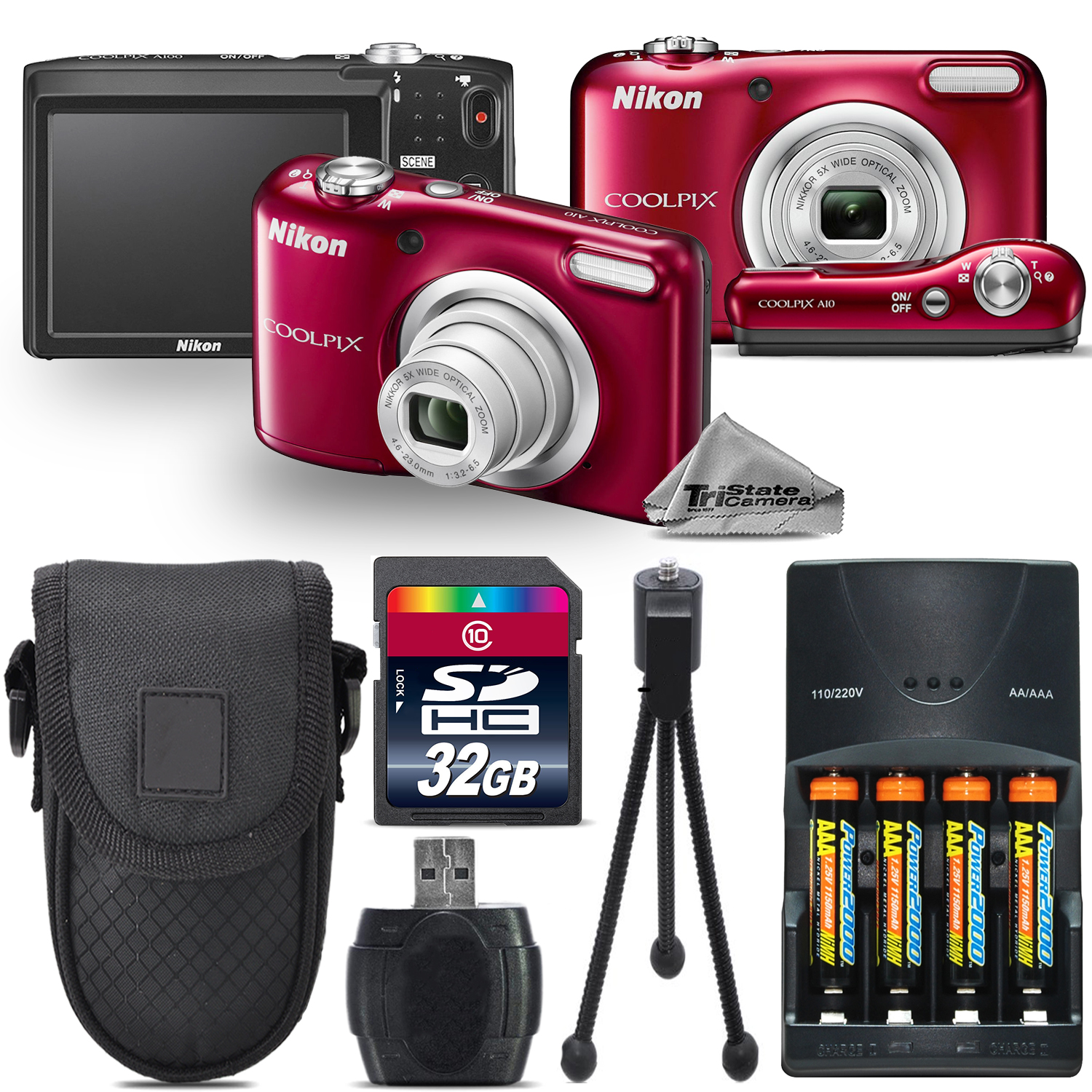 Nikon Coolpix A10 16.1MP Digital Camera (RED) 5x Optical ...