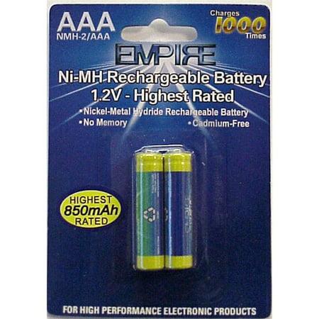 Empire NMH-2- AAA 1.5V 2 AAA Nickel Metal Hydride Rechargeable Per Card - 1.35 watt