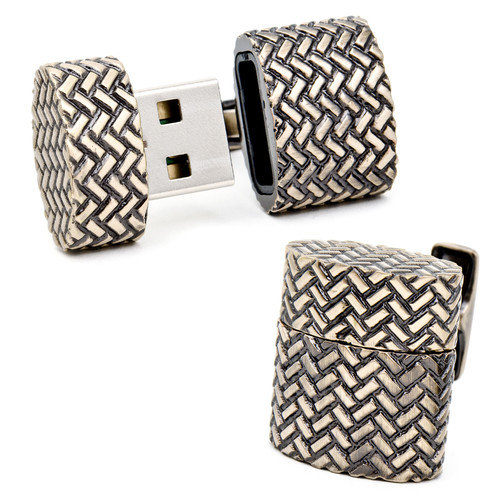 Ravi Ratan Woven Antique Gold Oval USB Cufflinks (4GB)