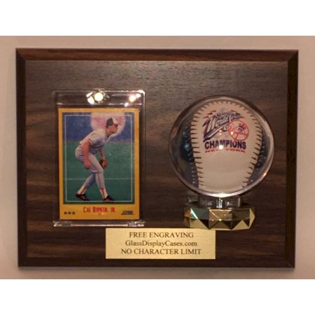 Engraved Baseball (Baseball & Trading Card Wall Mount Personalized Wood and Acrylic Display Case with Walnut Finish Plaque - Free Engraving )