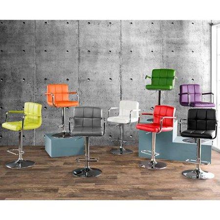 Furniture of America Corvelli Adjustable Swivel Leatherette Bar Stool Red