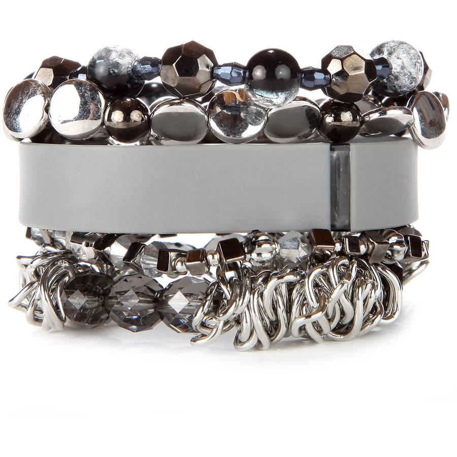 Grey Stacked Fitness Tracker Bracelet Set