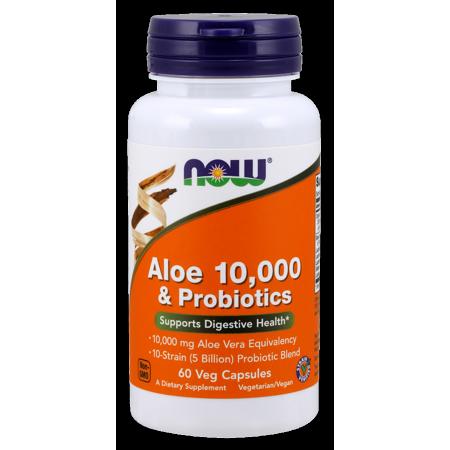 Now Aloe 10000 Amp Probiotics Vegetarian Capsules 60 Ct