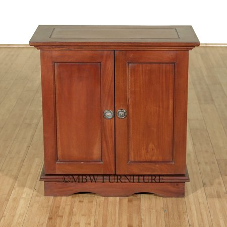 Solid Mahogany Distressed Low TV Media Storage Cabinet Table