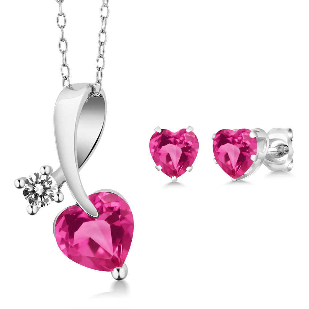 2.70 Ct Heart Shape Pink Created Sapphire and Diamond 925 Silver Pendant Earrings Set by
