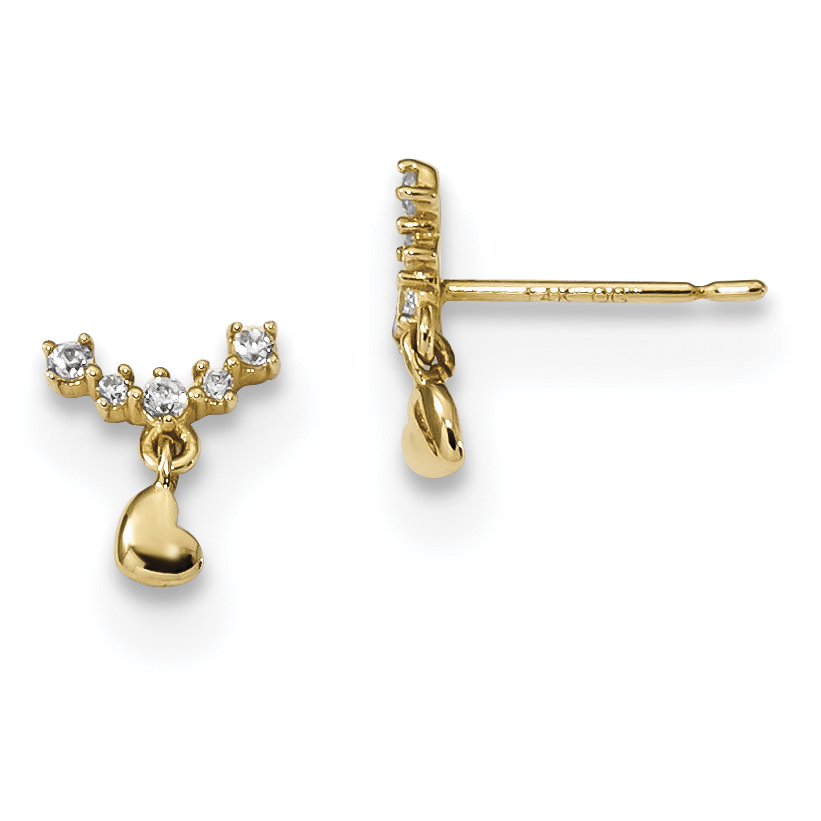 14k Yellow Gold Childrens Curved Cubic Zirconia Cz Bar Tiny Heart Drop Dangle Chandelier Post Stud Earrings Love Fine Jewelry Gifts For Women For Her - image 2 de 2