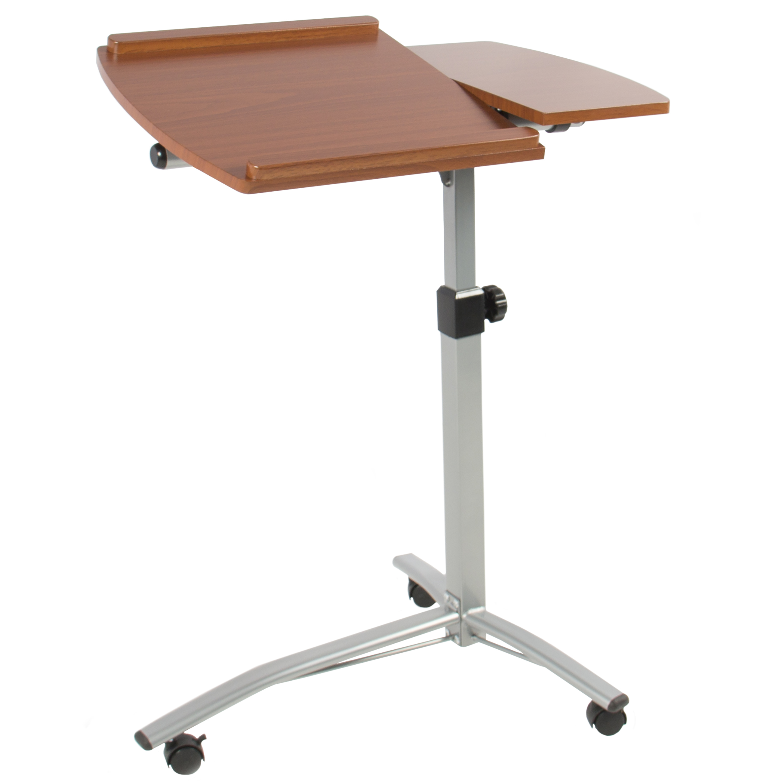Angle Height Adjustable Rolling Laptop Desk Cart Over Bed