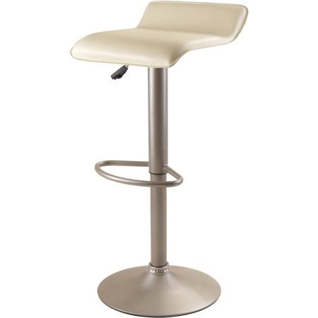 Single Air Lift Swivel Stool With Beige Pvc Seat