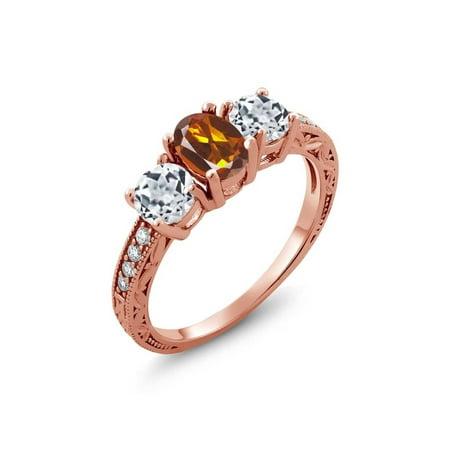 Madeira Citrine Gemstone - 1.82 Ct Orange Red Madeira Citrine White Topaz 18K Rose Gold Plated Silver Ring