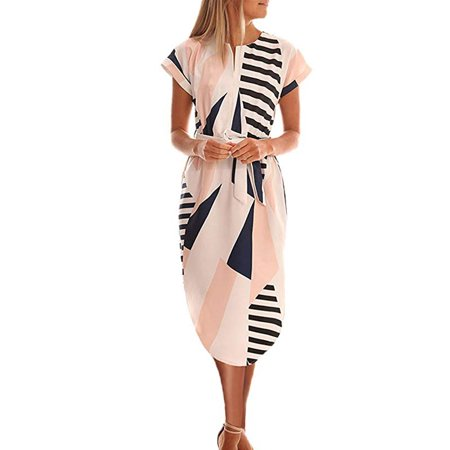 Women's Casual V Neck Geometric Pattern Floral Print Club Cocktail Belted Pencil Dress