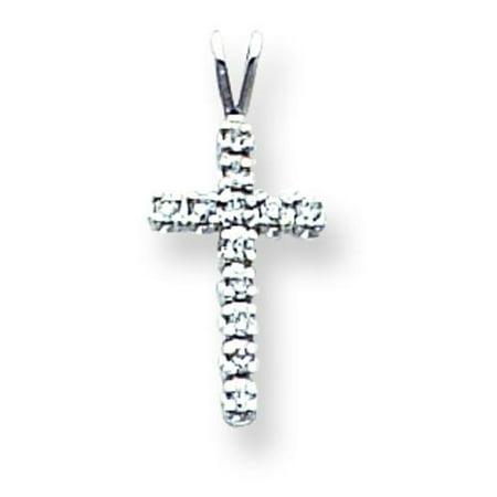 14K White Gold Diamond Cross Pendant Charm Jewelry 14k White Gold Cross Charm