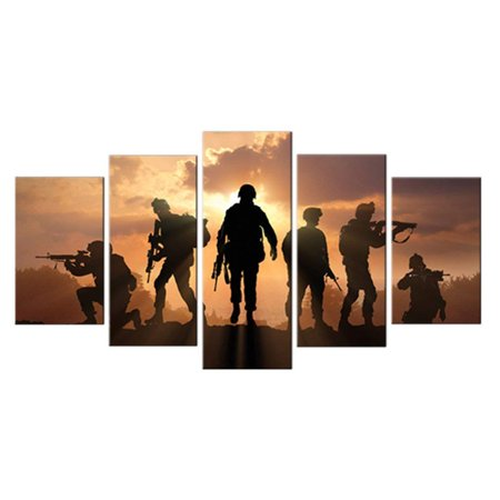 5 Piece Canvas Art American Soldiers Military Patriotic Sunset Large Home Decor