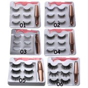 3 Pairs Mixing Magnetic Eyelash and Magnetic Eyeliner Kit - Reusable False Lashes Natural Look with 1 Pcs tweezers(Set 04 Wispies)