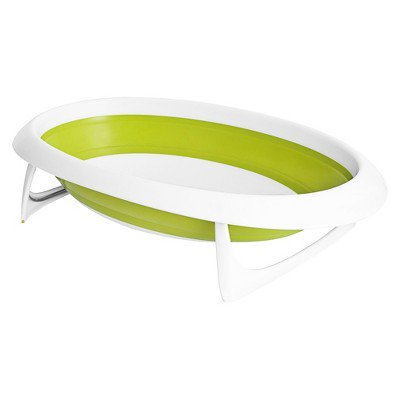 Boon Naked 2-Position Collapsible Baby Bathtub For Newborns and Toddlers, Green + White