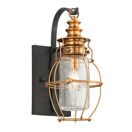 Wall Sconces 1 Light With Aged Brass with Forged Black ... on Aged Brass Wall Sconce id=61224