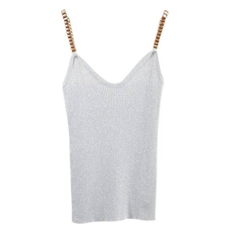 Lavaport Women Sexy Glitter Tank Tops Female V-Neck Knitted Camisole ()