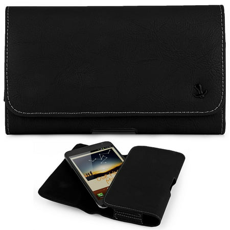 HTC ONE (M8) ~ EXTRA LARGE Horizontal Leather Pouch Carrying Case Holster Belt Clip Magnetic Closure Fits - Matte Black