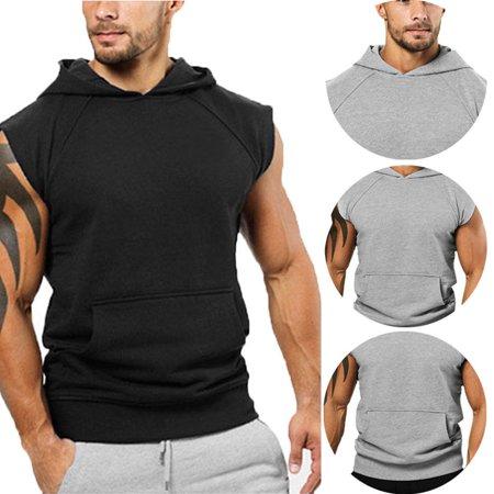 Mens Sleeveless Hoodie T-Shirt