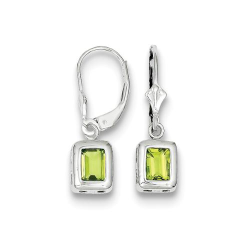 Sterling Silver 1.0IN Long 7 x 5mm Emerald Cut Peridot Leverback Earrings