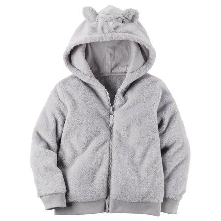 Carter Sweatshirt - Carters F17 grey fuzzy face hoodie Gray