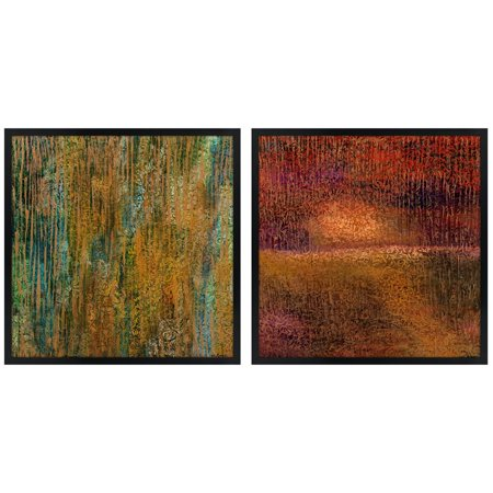Squares Giclee Set - River Parks Studio Set of Two Golden Spring Square Giclee Wall Art