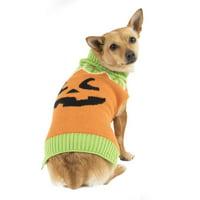 Way To Celebrate Dog Halloween Sweater, Orange Leafy Pumpkin, (Small)