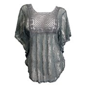 eVogues Plus Size Sheer Crochet Lace Poncho Top Gray