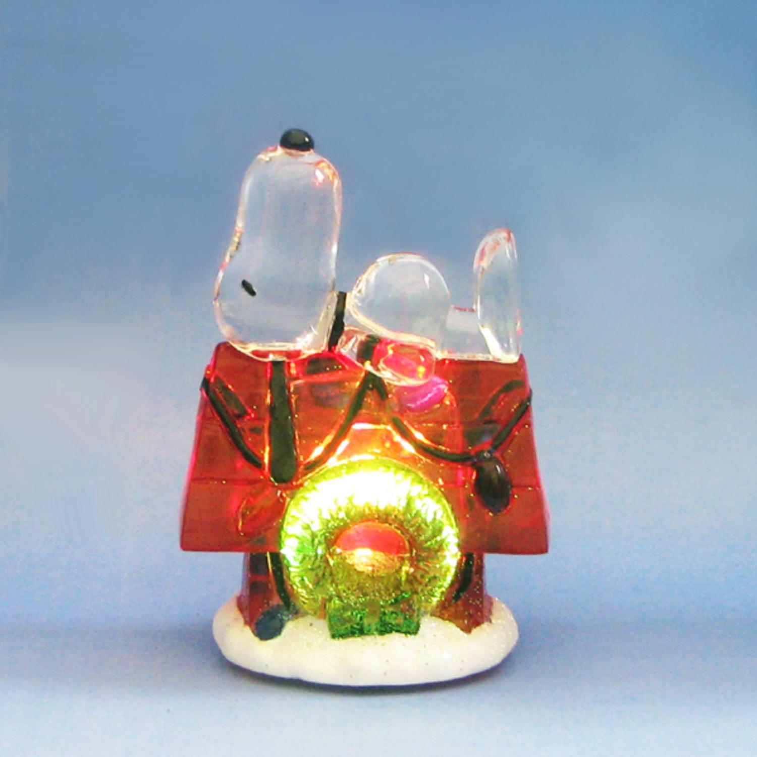 Pack of 6 LED Lighted Peanuts Snoopy on Doghouse Christmas Table Decorations 3""
