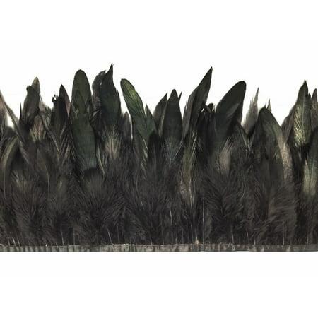 1 Yard - Black Rooster Half Bronze Schlappen Feather Trim - White Feathers Bulk