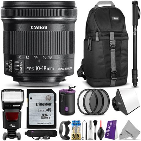 Canon Ef S 10 18Mm F 4 5 5 6 Is Stm Lens W  Complete Bundle   Includes  Altura Photo Flash   Backpack   Uv Cpl Nd4 Filter Kit Monopod   Sd Card   Lens Hood   Diffuser   Pouch   Strap   Cleaning Set