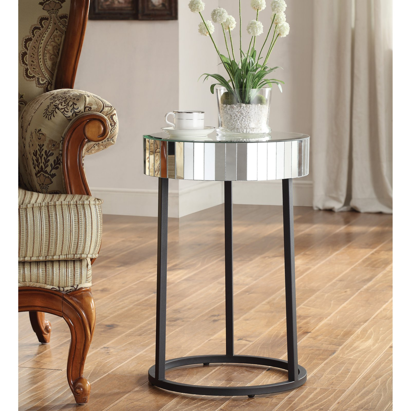 OSP Designs Krystal Round Mirror Accent Table with Metal Legs Fully Assembled by Office Star Products