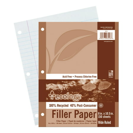 Ecology White Filler Paper, 3-Hole Punched, 3/8