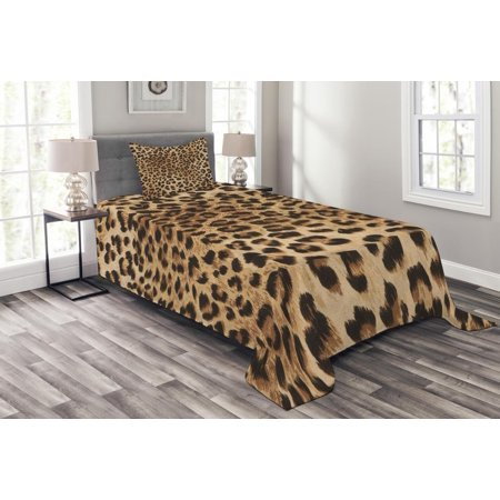 Leopard Print Bedspread Set Skin Pattern Of A Wild African Safari Animal Ful Panthera Cat Decorative Quilted Coverlet With Pillow Shams