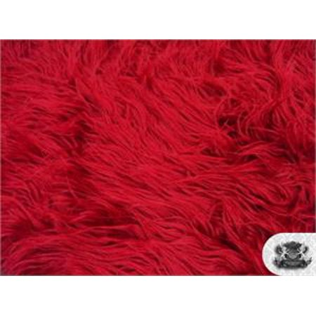 Faux Fake Fur Mongolian Fabric Sold by the Yard (DARK RED) - Dark Red Face
