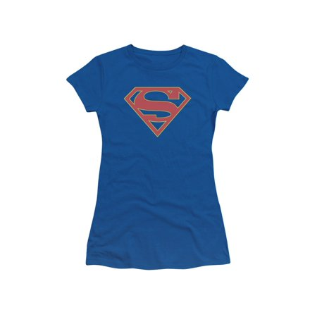 Supergirl Iconic DC Comic Book TV Show Pink S Symbol Juniors Sheer T-Shirt Tee (Supergirl T Shirt For Women)