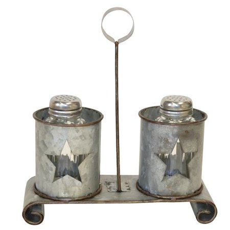 De Leon Collections Metal Star Salt and Pepper Shaker Shaker Set with Stand