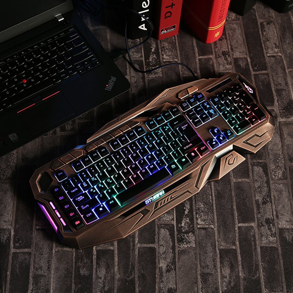 Gaming Keyboard, GX999 Ergonomic USB Wired Gamer Multicolor LED Gaming Keyboard Non Mechanical One Sale