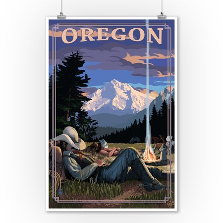 Oregon - Cowboy Camping Night Scene - Lantern Press Poster (9x12 Art Print, Wall Decor Travel Poster) - Casino Cowboy Scene