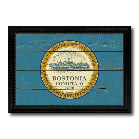 Boston City Massachusetts State Flag Vintage Canvas Print Black Picture Frame Home Decor Wall Art Gifts - 15